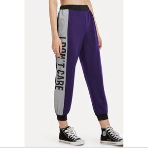 SHEIN Pants & Jumpsuits - Purple 'I don't care' Joggers